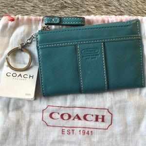 COACH Turquoise Leather Key /Card Holder